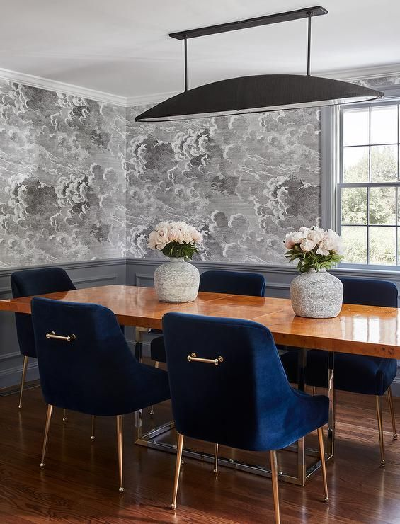 Fornasetti Nuvole Wallpaper Lined With Gray Wainscoting Accents A Gray Contemporary Dining Room Fur Dining Room Blue Trendy Dining Room Blue Dining Room Chairs