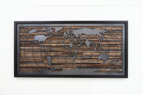 World map artwork made of old barnwood and natural steel, Different Sizes Available. Large wall art, wood wall sculpture