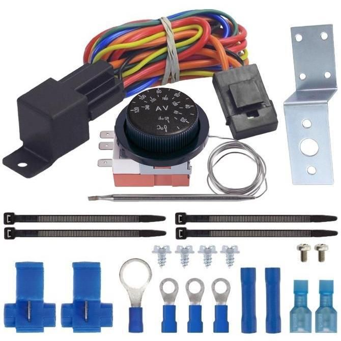 Dual Fan Adjustable Thermostat Switch Kit 32 248 F Radiator Probe