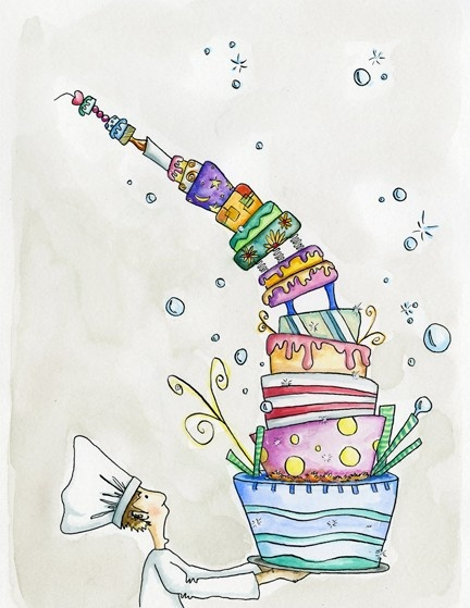 "Cake Man"" is an original ink and watercolor drawing. Full of color and whimsy, it's a great addition to any home."