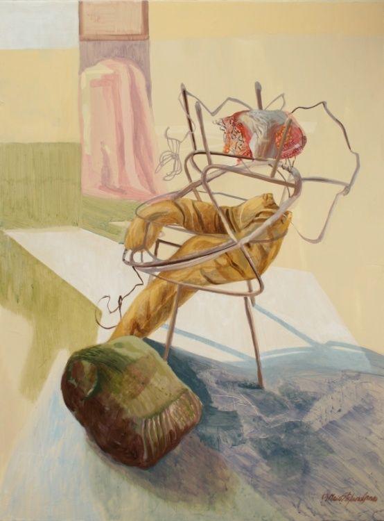 DEUX CHAISES LONGUES - Maia Stefana Oprea, acrilique sur toile, more on : http://www.maiaoprea.ro/fr/projets/2013/gaspillage-premiere-scene