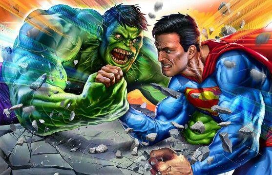 Hulk vs Superman arm wrestling