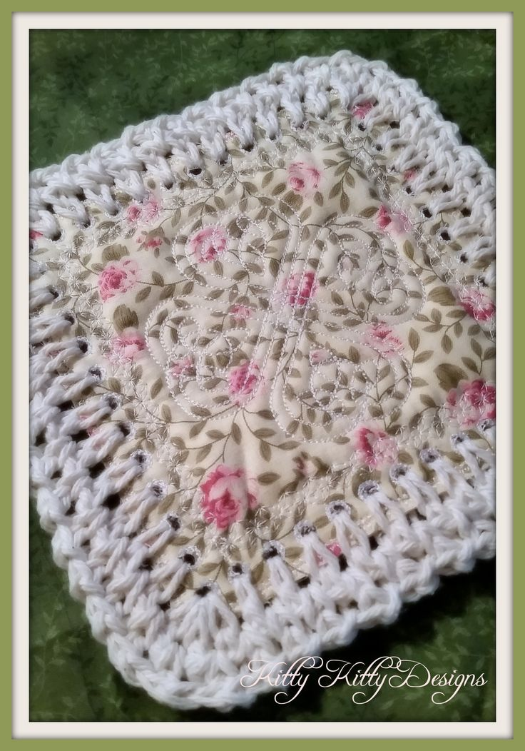 """Beautiful fabric and crochet blend to create a stunning quilt that will make your heart smile. Be careful! This """"Fusion Quilt"""" and its construction are addicting! Use up your scraps and make what was"""