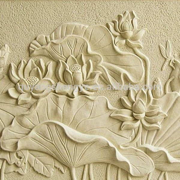 Lotus flower stone relief for decoration