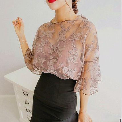 Tシャツ・カットソー シフォンブラウス 刺繍シースルー ワイドベルスリーブ 3色(4)