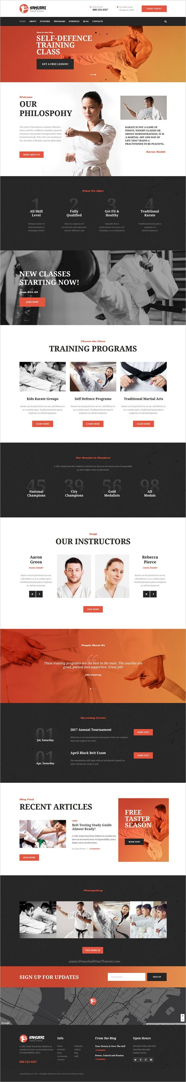 Samurai is modern and elegant design responsive 3in1 #WordPress theme for #webdev sports industry, #martial arts, #karate school, fitness clubs or personal trainers website download now➩ https://themeforest.net/item/samurai-karate-school-and-fitness-center/19235121?ref=Datasata
