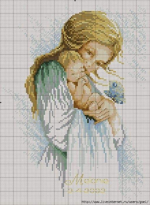 schema punto croce mamma con bambino   Hobby lavori femminili - ricamo - uncinetto - maglia