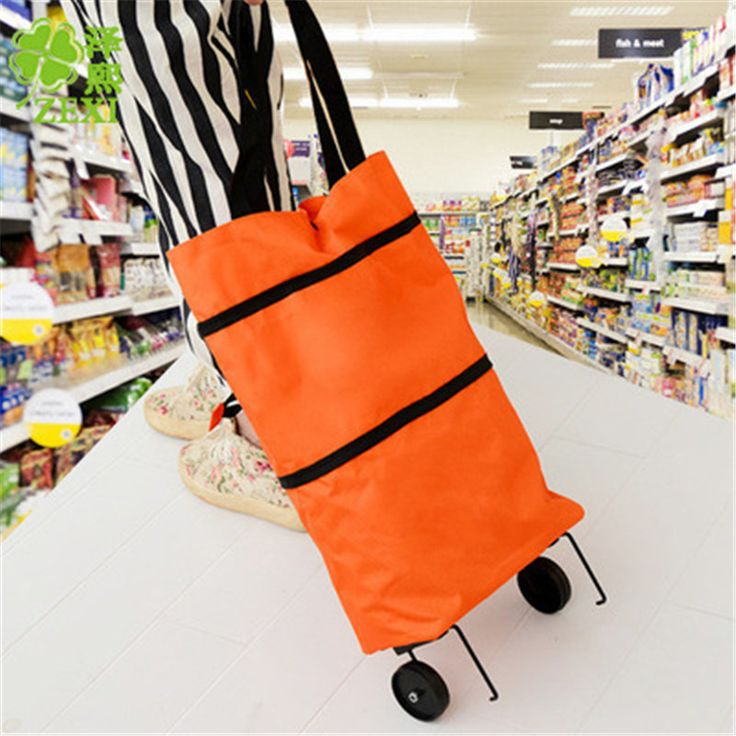 Oxford Cloth Folding Shopping Cart Bag With Wheels Trolley Bags Travel Storage Package Handbag Organizer Shopping Cart