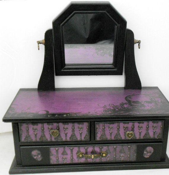 Gothic Jewelry Box Skull Theme Gothic Dresser Jewelry Box Gothic, Alchemy and Boxes