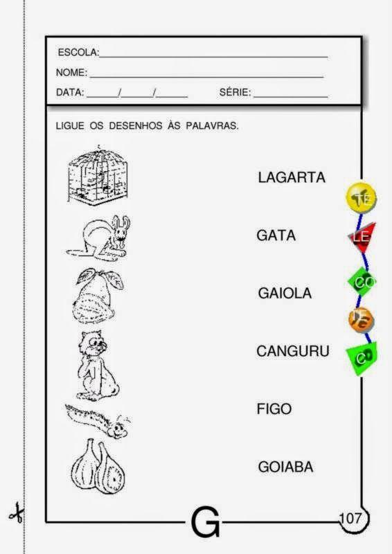 Atividades Com A Letra G Para Educacao Infantil Letra G