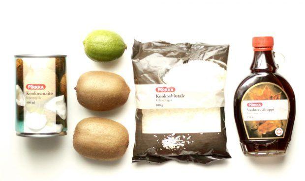 limemarinoidut kiivit ja kookoskermavaahto ainekset