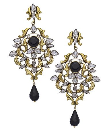 Taara Gold Onyx and Crystal Lattice Chandelier Earrings #maxandchloe