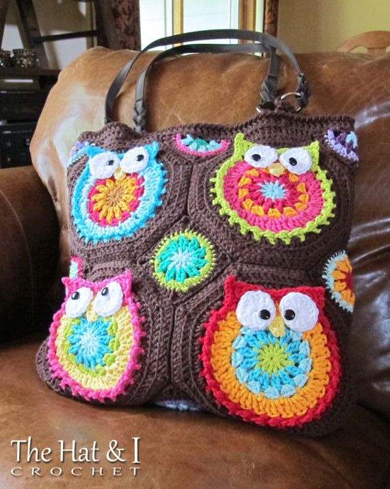 *********** This listing is for a CROCHET PATTERN in PDF format. ***********    Silly, colorful owls make for a FUN and OOAK tote! Skill level:
