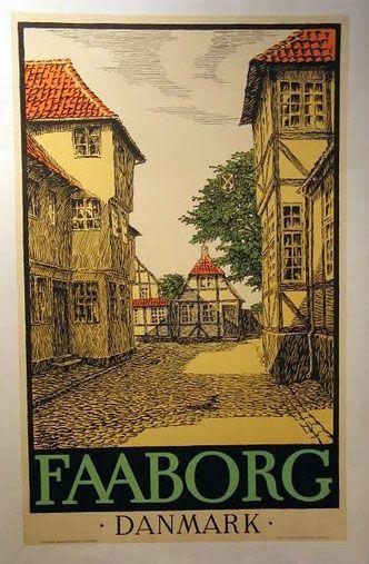 Vintage travel poster of Faaborg, Funen  denmark