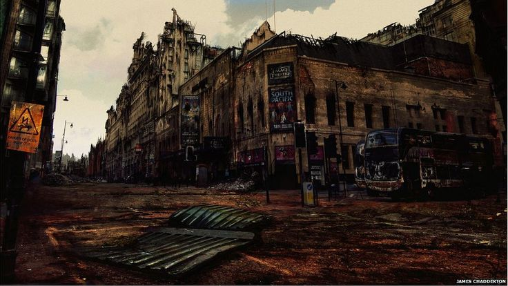 "Manchester Apocalypse: Palace Theatre by James Chadderton. The artist said he imagined a ""human devoid wasteland where the buildings have been left to decay""."