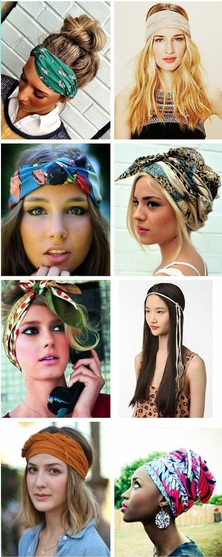 How to wear head scarves this summer. I probably wouldn't suit a head scarf but I'd live to try!