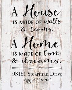 Custom Home Sign A Home Love and Dreams Address Date Wood Sign Canvas Housewarming Hostess Wedding Realtor, Christmas Gift