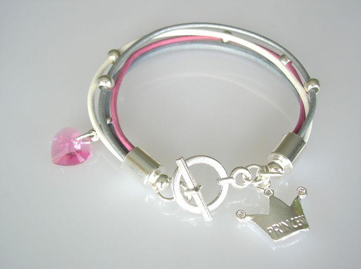 Kinder Armband Leder rosa silber weiß Krone Herz  von My Home Fashion auf DaWanda.com
