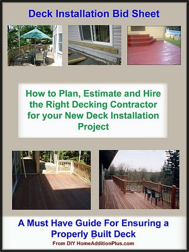 Here is a deck installation bid sheet for helping for My contractor plan