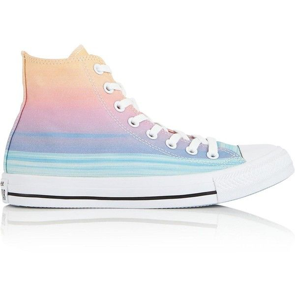 Converse Chuck Taylor All Star High Sunset Stripe Trainers ($71) ❤ liked on Polyvore featuring shoes, sneakers, multi, converse trainers, lace up sneakers, star sneakers, striped sneakers and star shoes