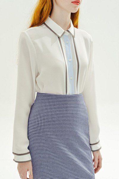 Elegant Flat Collar Long Sleeve Blouse For Women