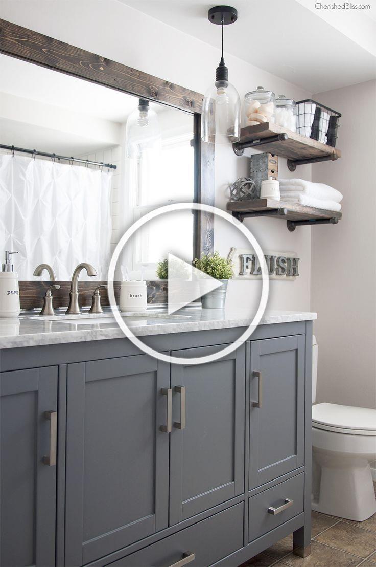 This Industrial Farmhouse Bathroom Is The Perfect Blend Of Styles And Creates Such A Cozy At In 2020 Moderne Badezimmer Schranke Badezimmer Renovieren Badezimmer Dekor