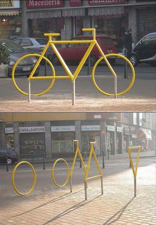 fietsenrekken vormen een 'ruimtelijke fiets' https://uk.pinterest.com/uksportoutdoors/road-bikes/pins/