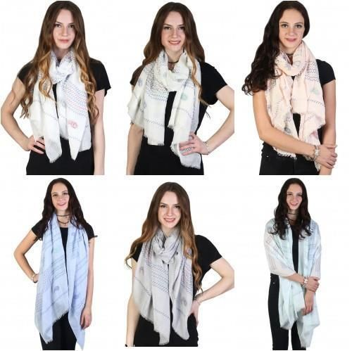 """Paisley Zig Zag Fashion Scarf Lightweight 34"""" X 72"""" Available in 6 Colors  NWT #NorthSouth #Scarf"""