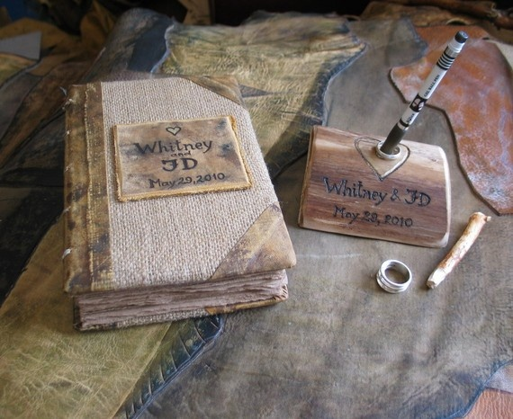 leather and burlap guest book