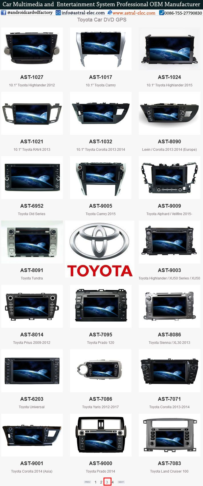 Toyota central multimidia 2 din, android system integration, car audio and video wholesale, inertial navigation system Astral Electronics Technology Co.,Ltd is a professional manufacturer in car multimedia navigation system Skype:joice8410 Website: www.astral-elec.com www.incarnavi.com Tel: 0086-755-27790830 E-mail:sales4@astral-elec.com