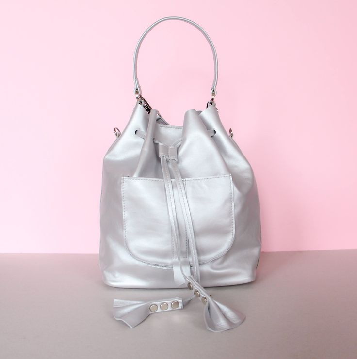 leather bucket | bucket bag | leather bucket bag | backpack | leather backpack | backpack bag | for her | silver leather | gift | by kulikstyle on Etsy