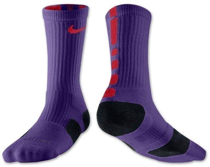 nwt nike elite cushioned crew socks purple red mens 68