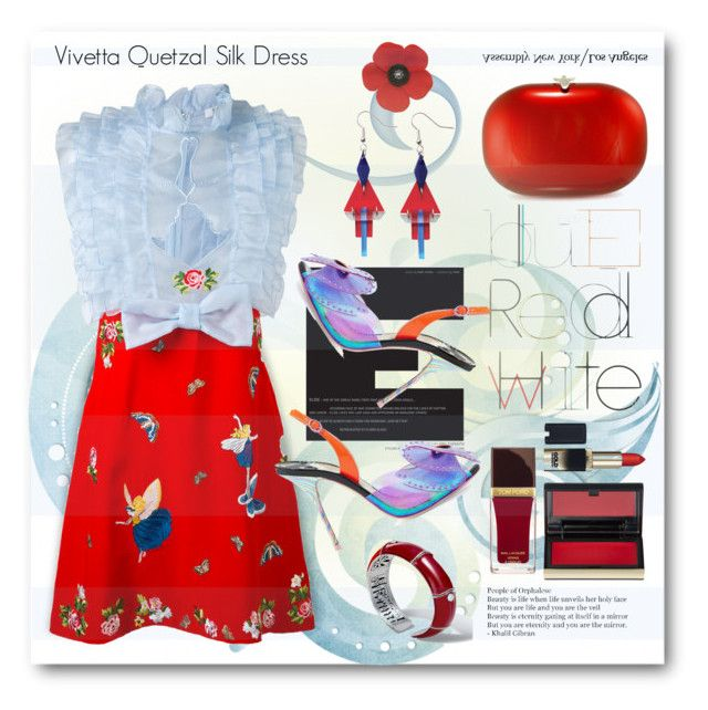"""""""Vivetta Quetzal Silk Dress"""" by esch103 ❤ liked on Polyvore featuring Jeffrey Levinson, John Hardy, VIVETTA, Kevyn Aucoin, L'Oréal Paris, Tom Ford, Toolally, Sophia Webster and dreamydresses"""