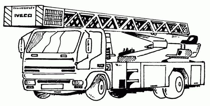 Ausmalbilder Feuerwehr Drehleiter 01