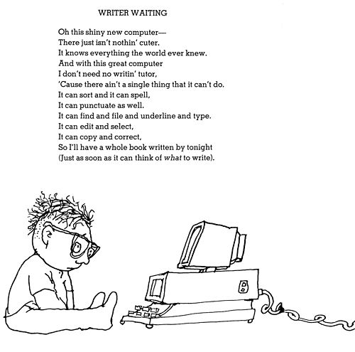 """Shel Silverstein poem """"Writer Waiting""""  Kid in front of new computer."""