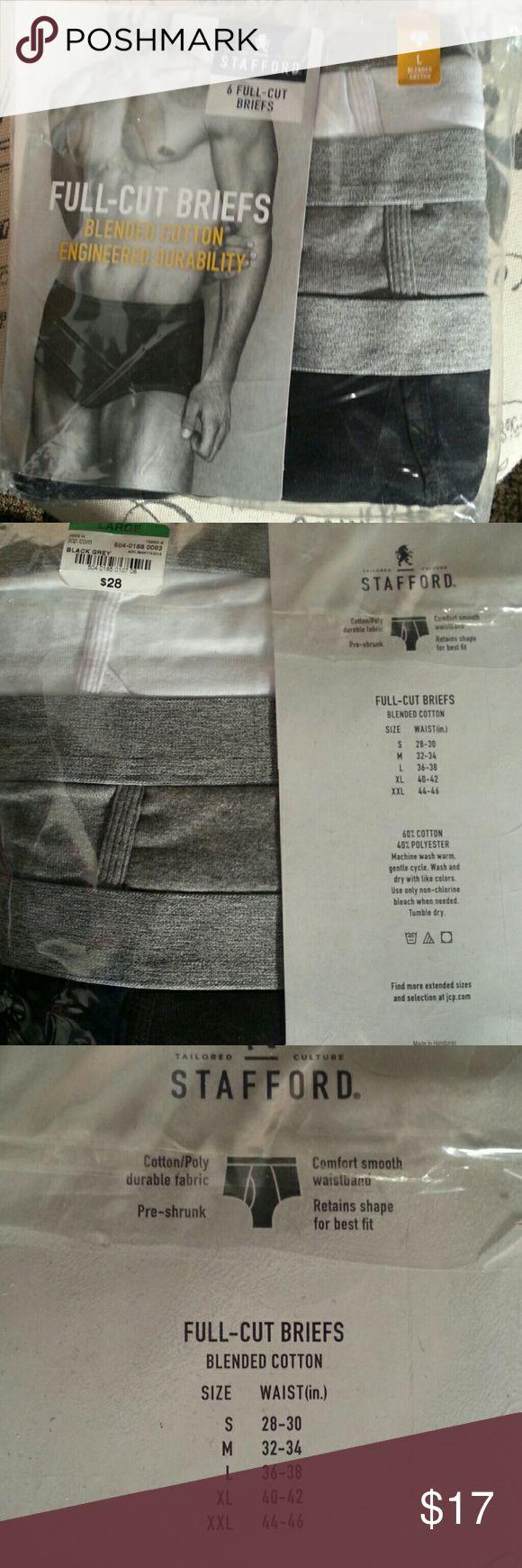 Men's Full-Cut Briefs 6. pack of cotton polyester briefs. Stafford brand Stafford Underwear & Socks Briefs