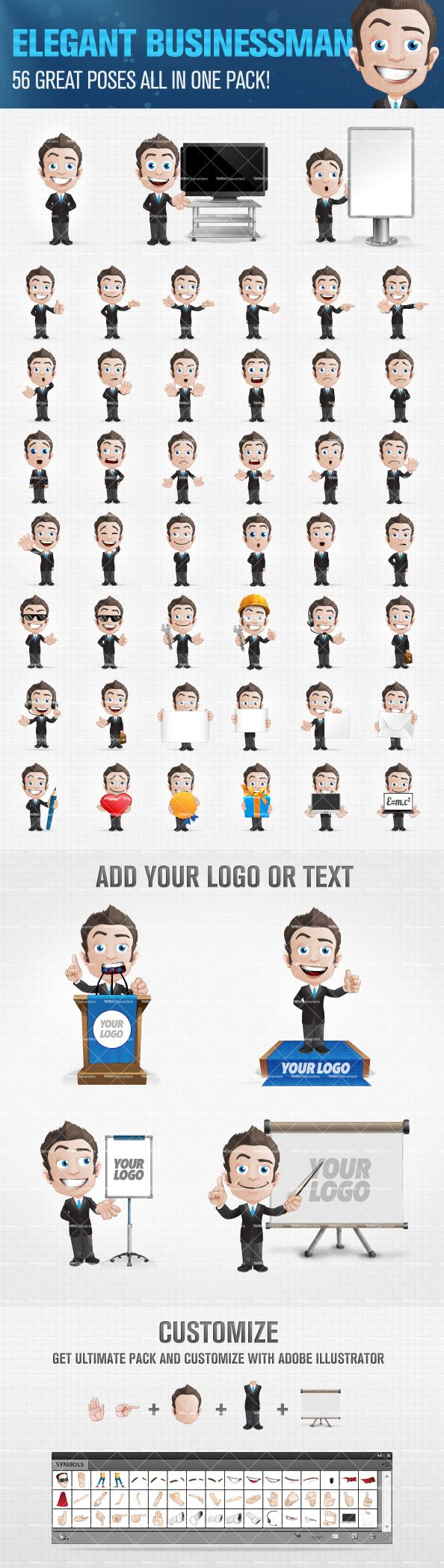 Business team cartoon characters cartoon vector cartoondealer com - Businessman Cartoon Character Set Containing The Impressive Amount Of 56 Different Poses And Emotions We