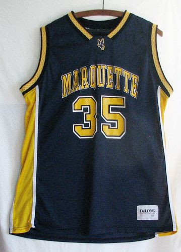Marquette University Basketball Jersey DeLong #35 Blue Gold NCAA Size 46