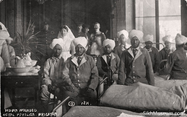 Wounded Sikh and Indian soldiers at the Royal Pavilion Indian Hospital in Brighton England. Learn how a magnificent former Royal Palace was converted into a hospital for Sikh and Indian soldiers during World War I at the SikhMuseum.com Exhibit - Doctor Brighton's Pavilion