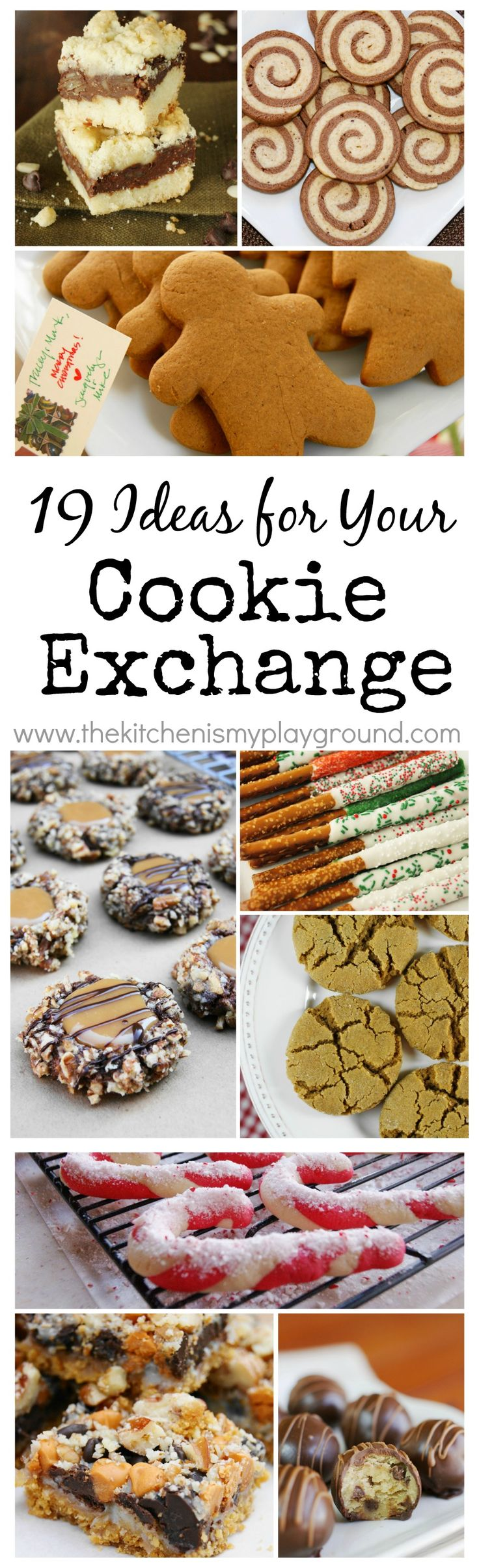 19 Sweet-Treat Ideas to Make for a Cookie Exchange.  {Or for a Christmas cookie tray!}   www.thekitchenismyplayground.com