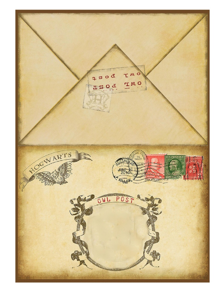 This is a graphic of Witty Harry Potter Envelope Template Printable