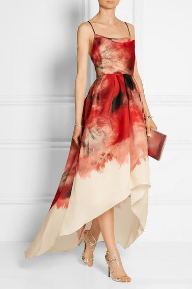 Lela Rose | Printed silk-gazar gown | Jimmy Choo sandals | Comme Des Garcons pouch | Margiela rings | NET-A-PORTER.COM