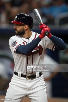 Nick Markakis of the Atlanta Braves hits against the New York Mets at SunTrust Park on May 02, 2017 in Atlanta, Georgia. The Braves won the game 9-7.