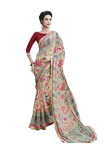 Shoppingover Bollywood Printed Saree with Blouse in Georg…