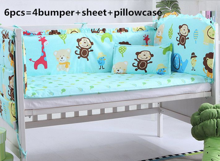 2016! 6/7PCS baby crib bedding set newborn cot bed sets neonate bumper pad for infant Duvet Cover,120*60/120*70cm