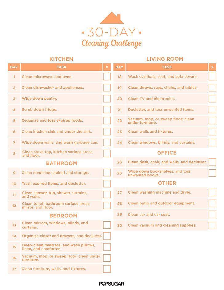 30-Day Cleaning Challenge Printable   POPSUGAR Smart Living