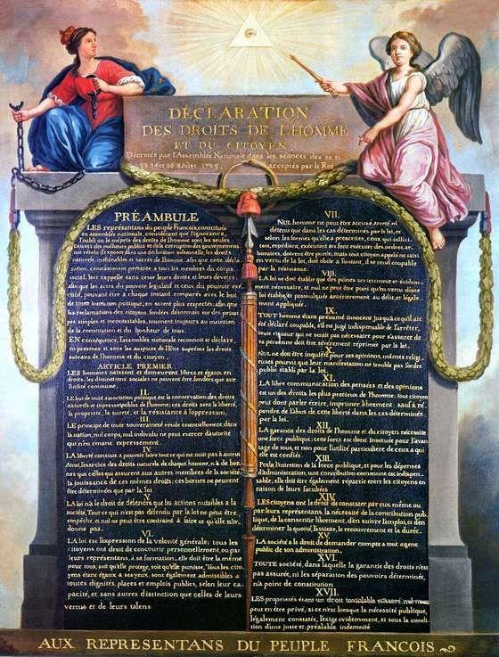 Op 26 augustus 1789 wordt in Frankrijk de eerste universele Verklaring van de Rechten van de Mens en de Burger (Déclaration des Droits de l'Homme et du Citoyen) bekendgemaakt. De verklaring was samengesteld door de Franse markies de Lafayette en de graaf Emmanuel Joseph Sieyès.