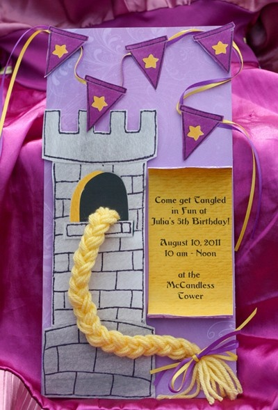 Tangled Birthday Invite// I love these little flags.