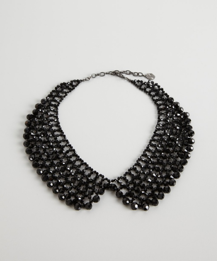 R.J. Graziano jet black pearl collar necklace   BLUEFLY