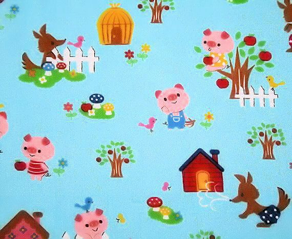 3 Little Pigs Story Time Japanese Cotton Fabric on aqua baby bags, room decor, pillows SALE 1 last yard by PicolinnesStudio on Etsy